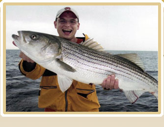 Angler with striped bass